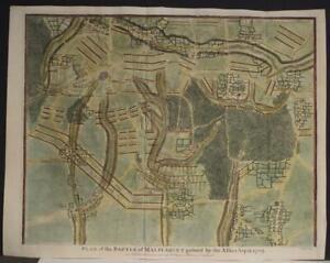 BATTLE OF MALPLAQUET FRANCE 1745  BASIRE ANTIQUE ORIGINAL COPPER ENGRAVED MAP