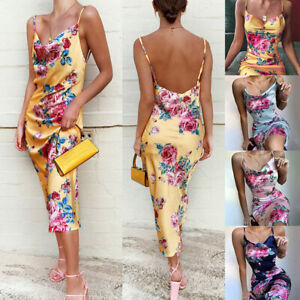 Women Casual Floral Flower Print Silk Mini Sling Dress Summer Cocktail Party #