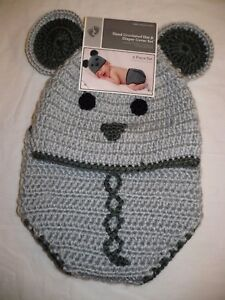 Baby Hand Crocheted Hat & Diaper Cover 2 Piece Set 0-9 Months Gray Mouse New