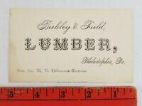 Vintage 1900's Lumber Yard Philadelphia Pennsylvania Business Card