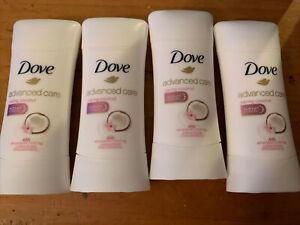 Lot of 4 Dove Advanced Care Anti-Perspirant Deodorant, Caring Coconut 2.6 oz