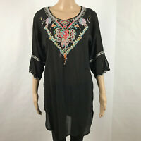 Johnny Was Womens Floral Embroidered Tunic Cupra Rayon 3/4 Sleeve Top Black