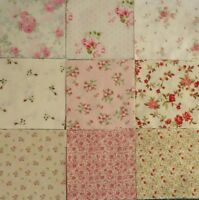 """Charms Rose Quilting Squares, 5"""" Fabric, Pre-cut Quilting Squares, Pink Roses,"""