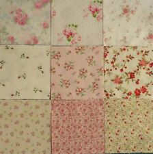 "Charms Rose Quilting Squares, 5"" Fabric, Pre-cut Quilting Squares, Pink Roses,"