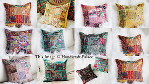 Indian Handmade Khambodia Patchwork Cushion Cover Decor Sofa Pillow Case 16""