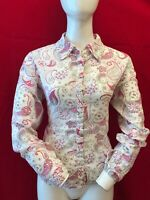 WHITE STUFF Women's White Multi Pattern Cotton Long Sleeve Blouse Shirt UK 14