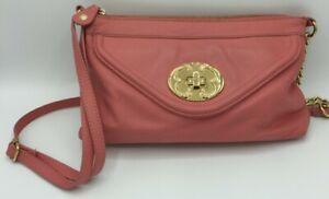 Emma Fox Crossbody Purse Coral Leather Shoulder Bag Chain Strap Boho Chic