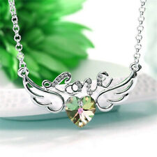 Women Jewelry Crystal Rhinestone topaz Angel wings Charm Silver Pendant Necklace