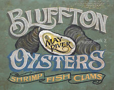 Bluffton SC Oysters Print art decor  vintage sign South  Carolina lowcountry
