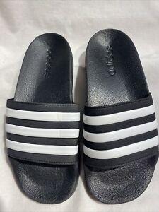 Adidas Adilette Shower Youth New black and white slides Sz 4 (Women's Sz 6)