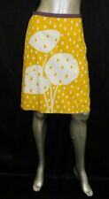 BODEN Yellow/White/Purple Floral Print Cotton Side Zipper A-Line Skirt sz 4