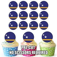 24 Circle Curacao Flags - Cup Cake Toppers Decorations Party Birthday
