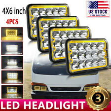 "4pcs 4X6"" LED Square Headlight Hi/Lo Beam Lamp For Jeep Wrangler Buick Riviera"