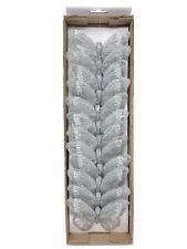 12 Silver Glitter Clip On Mesh Butterflies 10cm Wedding Florist Decoration