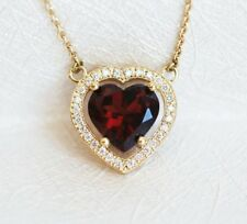 1.5 Ct Heart Cut Garnet Diamond Pendant 14K Yellow Gold Over For Her Free Chain