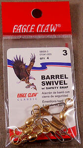 Trout Fishing 1 Pack Of 4, Eagle Claw # 3 Brass Barrel Swivels w/ Safety Snap