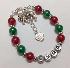 Filles éléphant charme bracelet personnalisé avec tout nom-choix de couleurs