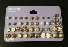 20 Pairs of Claire's Stud Earrings For Girls Gold & Ivory Cross, flowers, Balls+