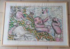 ♥ ENRICO BAJ LA BAIGNADE SERIGRAFIA P.A. 1972 CON CORNICE OPERA VINTAGE 104x73cm