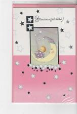 Carte Félicitations.Bienvenue joli bébé bébé sur Lune et étoiles11 cm x 17 cm.