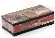 "Hand Carved Jewelry Casket Rare Russian Picture Jasper Stone Trinket Box 5.1"""