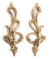 Syroco Gilded Wall Sconces Ornate Gold Candle Holder MCM Hollywood Regency