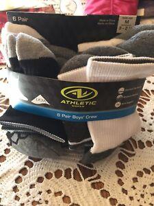 Socks For Boy, 6 Pair, Athletic Works, Crew Socks
