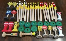 Thomas Brio Wood Train Track Signals / Traffic Signs 42 Pc Lot
