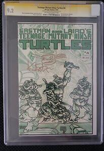 Teenage Mutant Ninja Turtles 4 CGC SS 9.2 Signed & Sketch Eastman TMNT 1st ED.