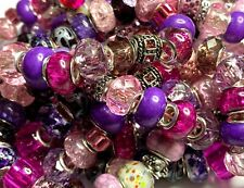 Lot of Purple/Pink/Silver Glass/Metal European Large 5mm Hole Beads USA SELLER