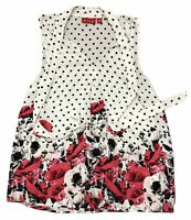 Elle Women's Size Small White With Black Polka Dots Sleeveless Floral Top w/ Tie