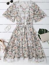 Zaful Lace Floral Dress + Belt