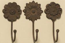 3 piezas ganchos para ropa marrón hierro fundido flores Antiguo Flor