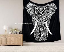 Negro Blanco Indio Elefante Tapiz Colgante De Pared Mandala Hippie Tiro Colcha