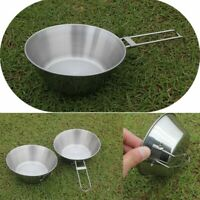 Portable Camping Picnic Cookware Stainless Steel Cooking Hiking Bowl Pot Pan New