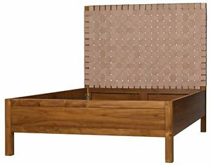 "80"" Bed Solid Teak Wood Natural Finish Head Board Adorned with Naked Leather"