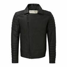 "Boda Skins Mens ""The NKD"" GUN METAL Black Leather Biker Jacket UK Size XXXL 3XL"