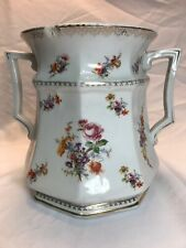 Wheeling Pottery La Belle China Pot Victorian Floral Double Handle Urn with Chip