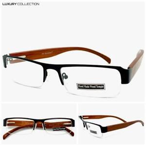 Classy Elegant Contemporary Modern Clear Lens EYE GLASSES Wooden Fashion Frame