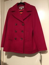 KRISTEN BLAKE RED WOOL BLEND DOUBLE-BREASTED PEA COAT ~ SIZE MEDIUM/BRAND NEW
