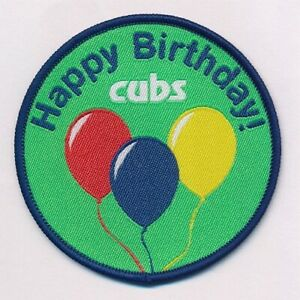 CUBS HAPPY BIRTHDAY FUN BADGE OFFICIAL CUB SCOUT UNIFORM STOCKISTS NEW