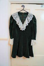 Vintage Small Green Velvet Dress with ruffles collar sleeves Handmade Sabrina