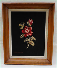 Vintage Roses French Framed Woven Aubusson Tapestry Albert Couturier 1960