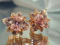 Darling Pink Ice Rhinestone Dainty Gold Tone Vintage 80's Pierced Earrings 777j1