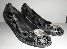 BRIGHTON MADE IN ITALY BLACK LEATHER HIGH HEEL WOMANS SHOES BLAZE SNAKE PATTERN