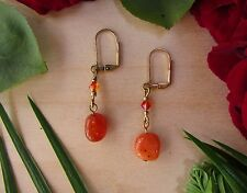 Unique Orange Coral Agate Sunset SW Crystal Gold Plate Leverback Dangle Earrings