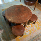Fabulous Hand-Tooled Leather Coffee Lounge Card Table and Stools Lima Peru