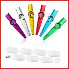 More details for 6 metal kazoo musical instruments with 40 pieces kazoo flute diaphragms, alloy a