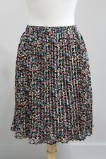 New ANTHROPOLOGIE Black Floral Print VISIONARY SKIRT Sz M by Tabitha Pleated