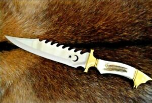"""Clip Point Knife Serrated Fixed Blade Hunting Tactical Survival Antler Handle 8"""""""
